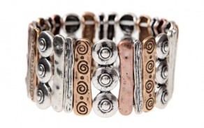 Multi-metal Engraved Stretch Bracelet