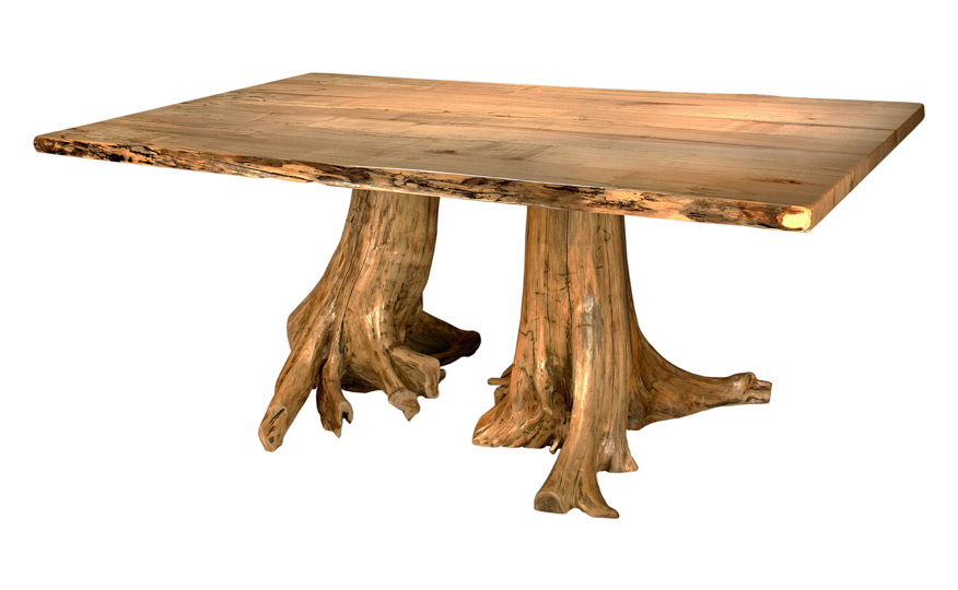 Double stump dining table fairhaven furniture for Tree trunk dining table